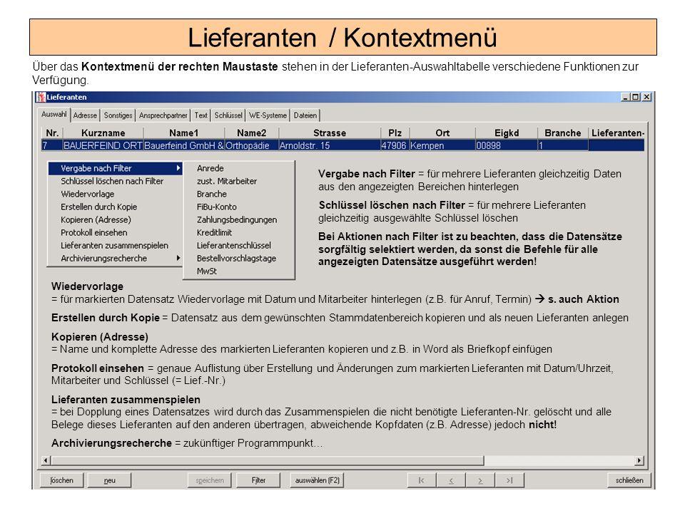 Lieferanten / Kontextmenü
