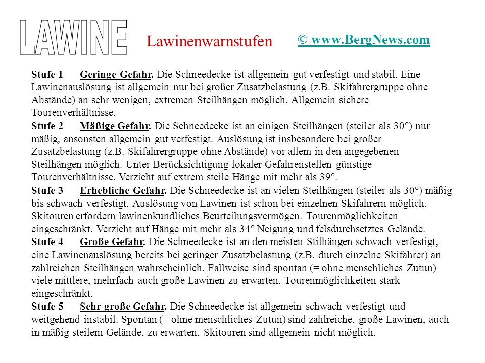LAWINE Lawinenwarnstufen © www.BergNews.com