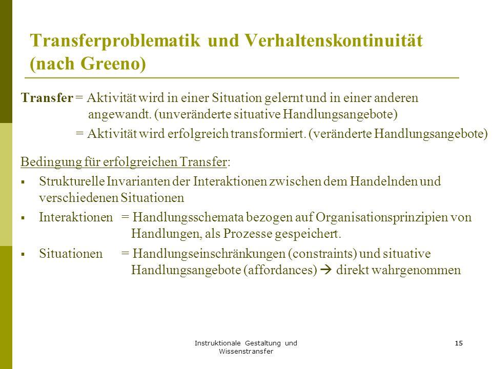 Transferproblematik und Verhaltenskontinuität (nach Greeno)