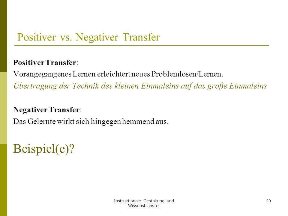 Positiver vs. Negativer Transfer