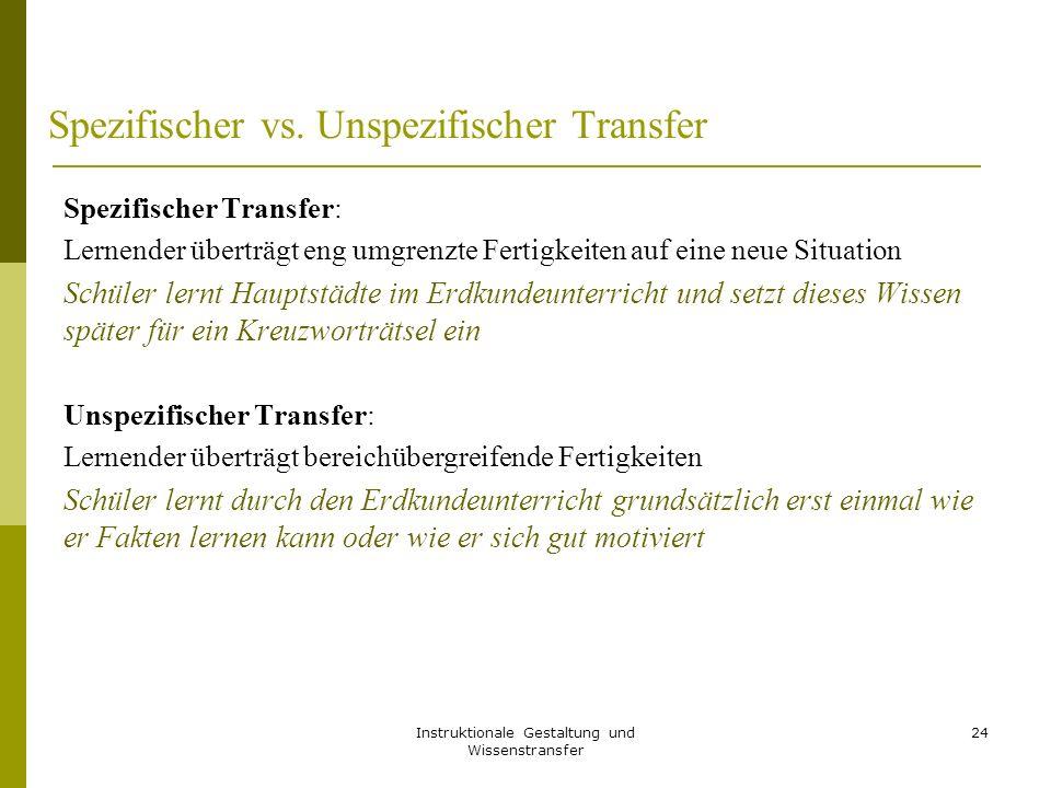 Spezifischer vs. Unspezifischer Transfer