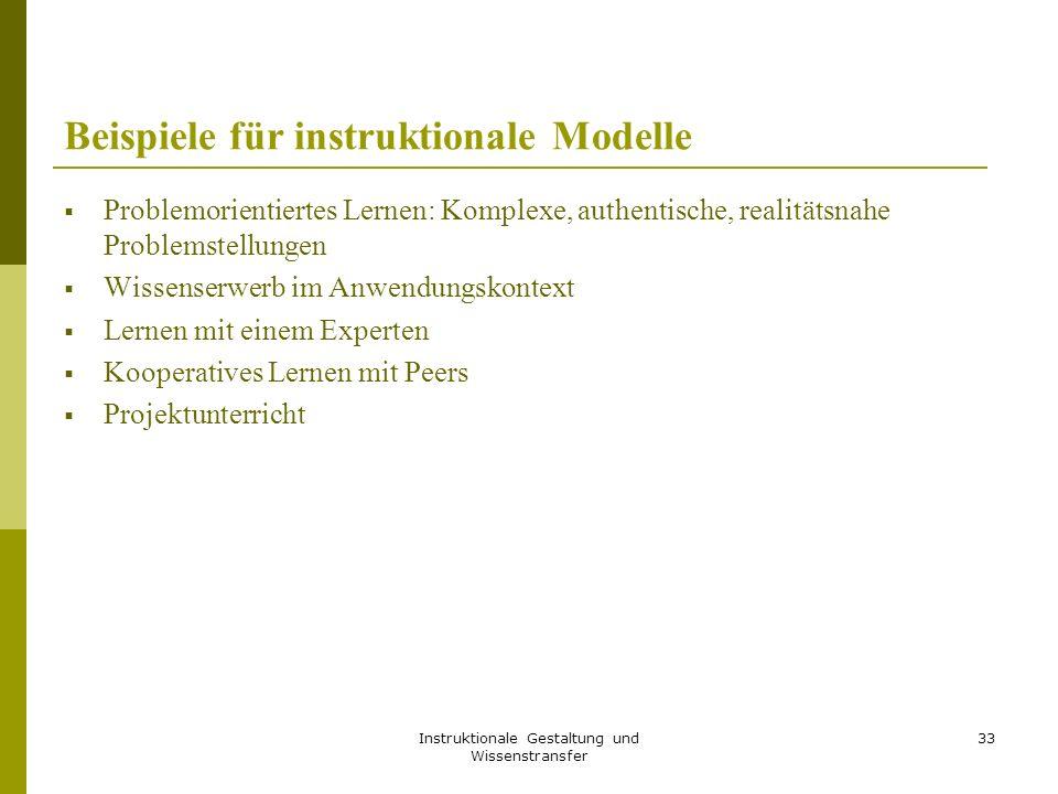 Beispiele für instruktionale Modelle