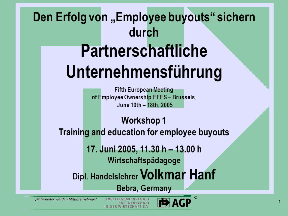 Workshop 1 Training and education for employee buyouts