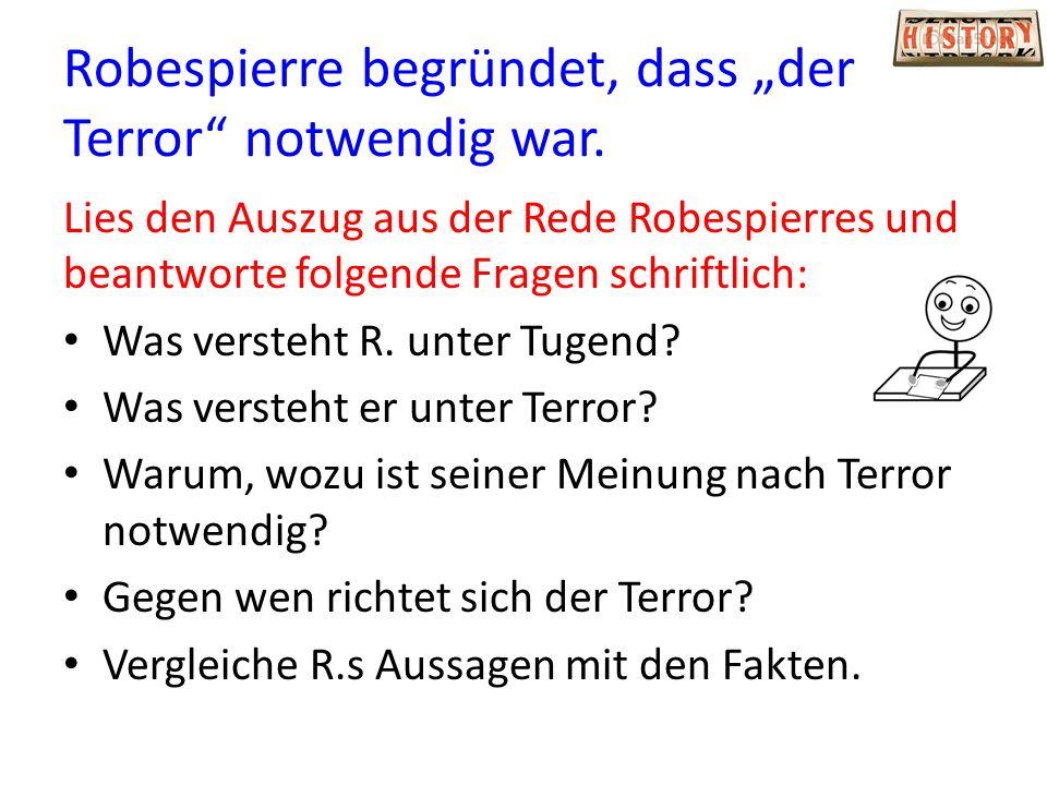 """Robespierre begründet, dass """"der Terror notwendig war."""