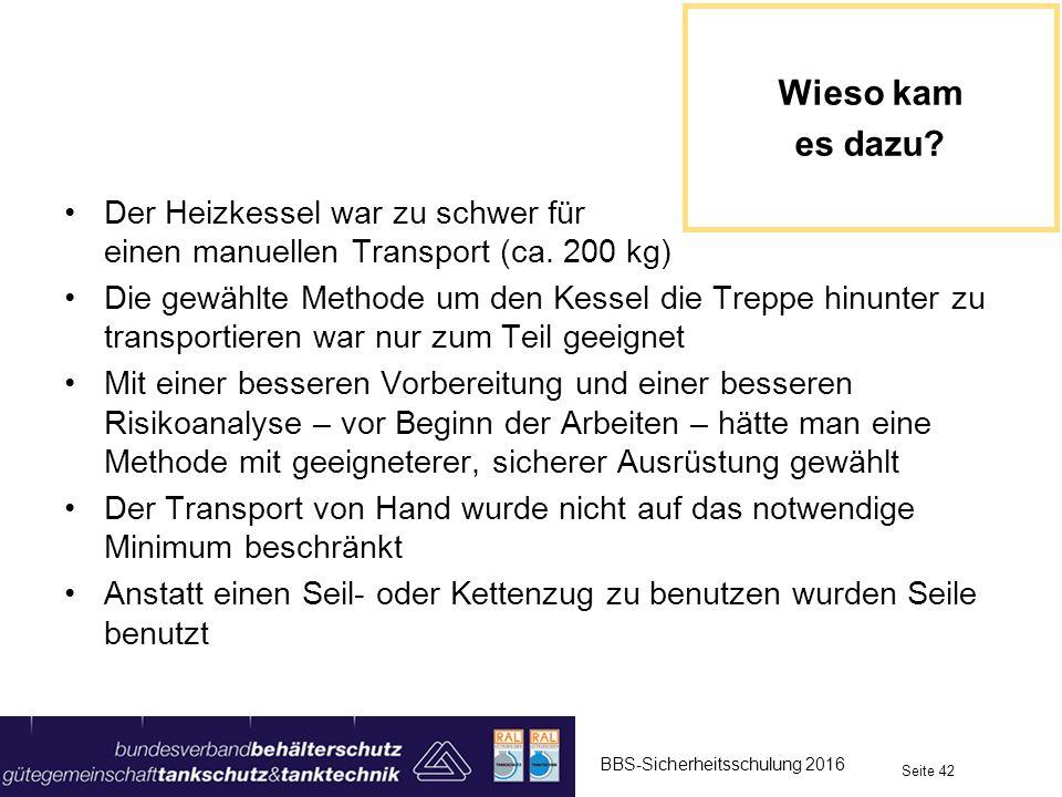 Wieso kam es dazu Der Heizkessel war zu schwer für einen manuellen Transport (ca. 200 kg)
