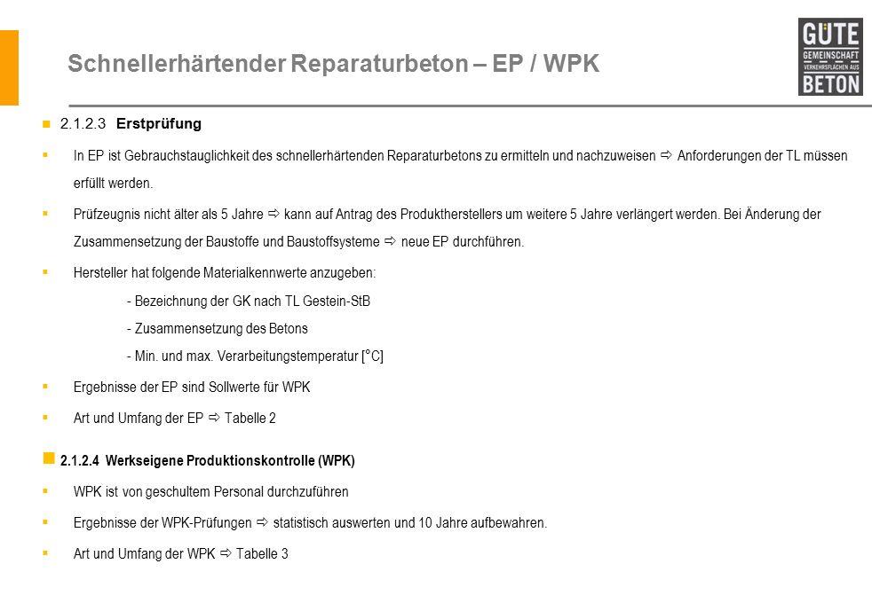 Schnellerhärtender Reparaturbeton – EP / WPK