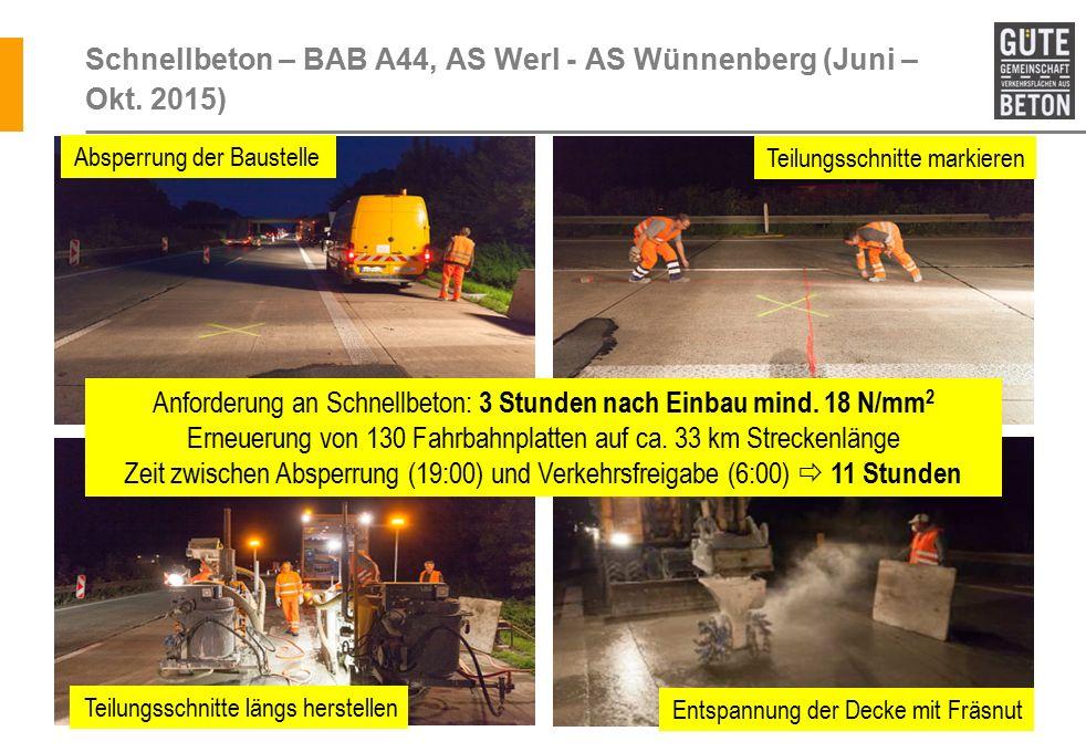 Schnellbeton – BAB A44, AS Werl - AS Wünnenberg (Juni – Okt. 2015)