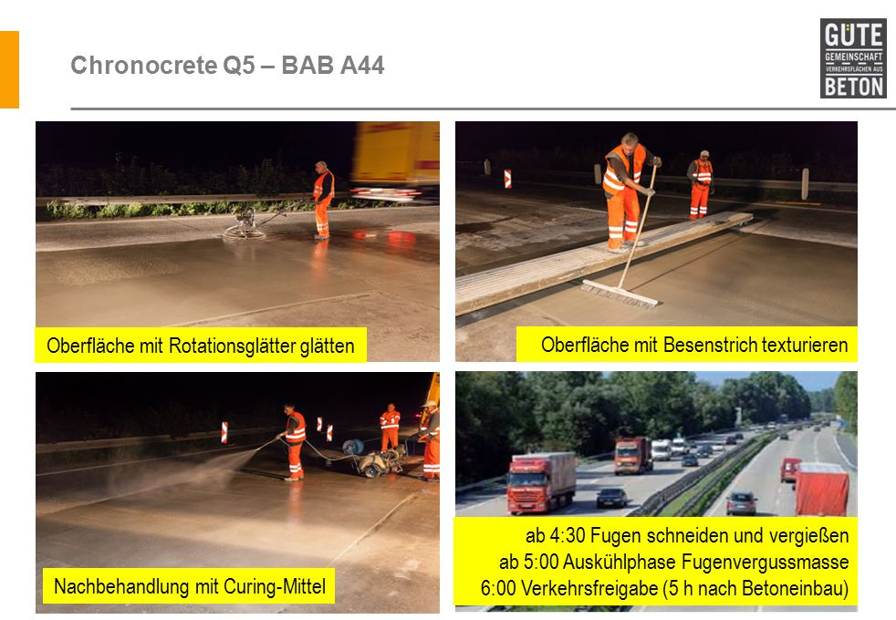 Chronocrete Q5 – BAB A44 Oberfläche mit Rotationsglätter glätten