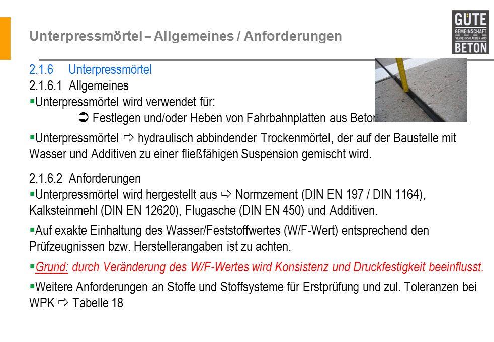 Unterpressmörtel – Allgemeines / Anforderungen