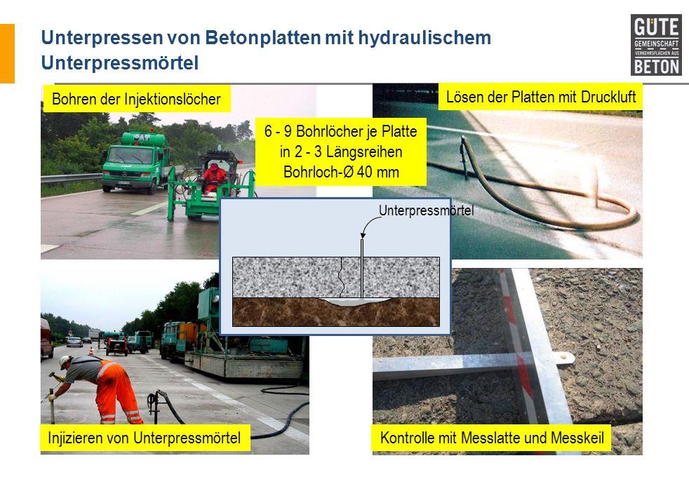 Unterpressen von Betonplatten mit hydraulischem Unterpressmörtel