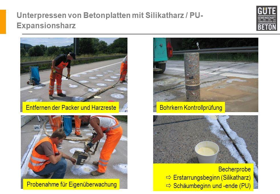 Unterpressen von Betonplatten mit Silikatharz / PU-Expansionsharz