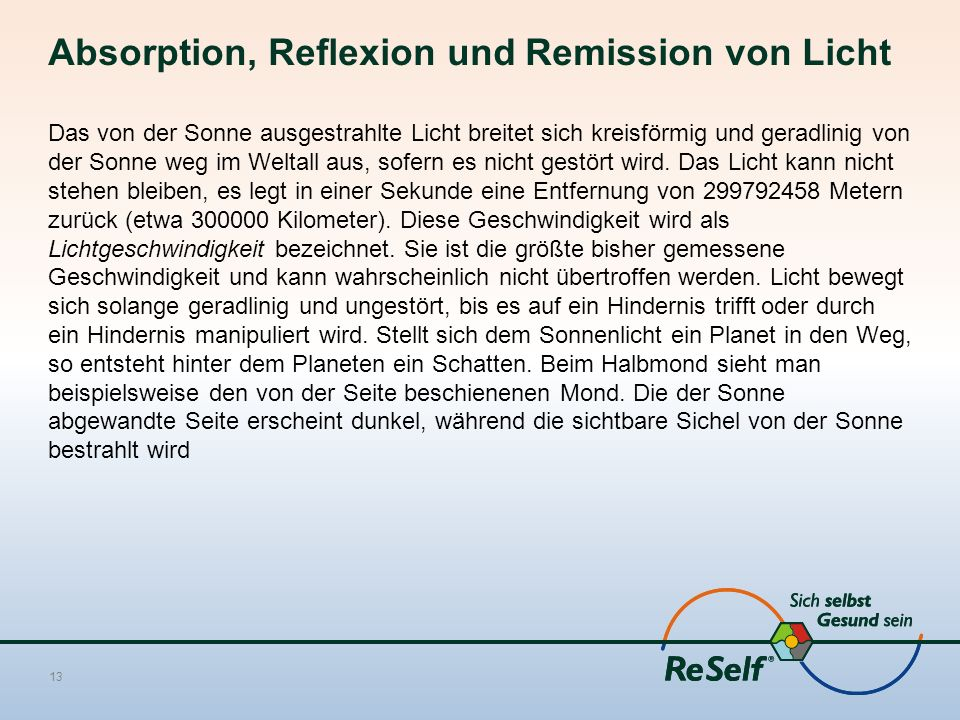 Absorption, Reflexion und Remission von Licht