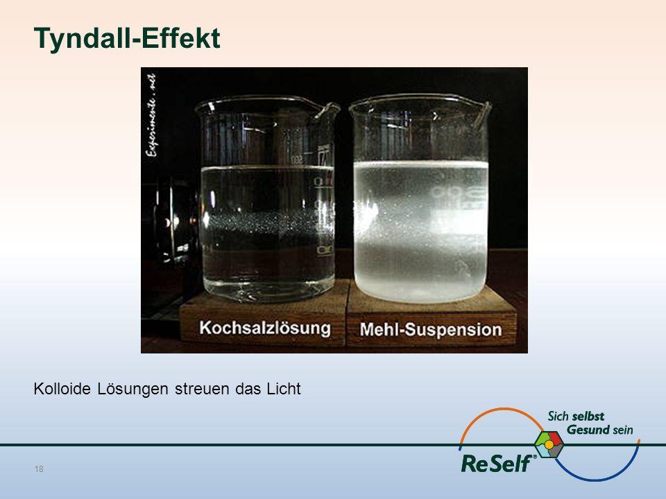 Tyndall-Effekt Kolloide Lösungen streuen das Licht
