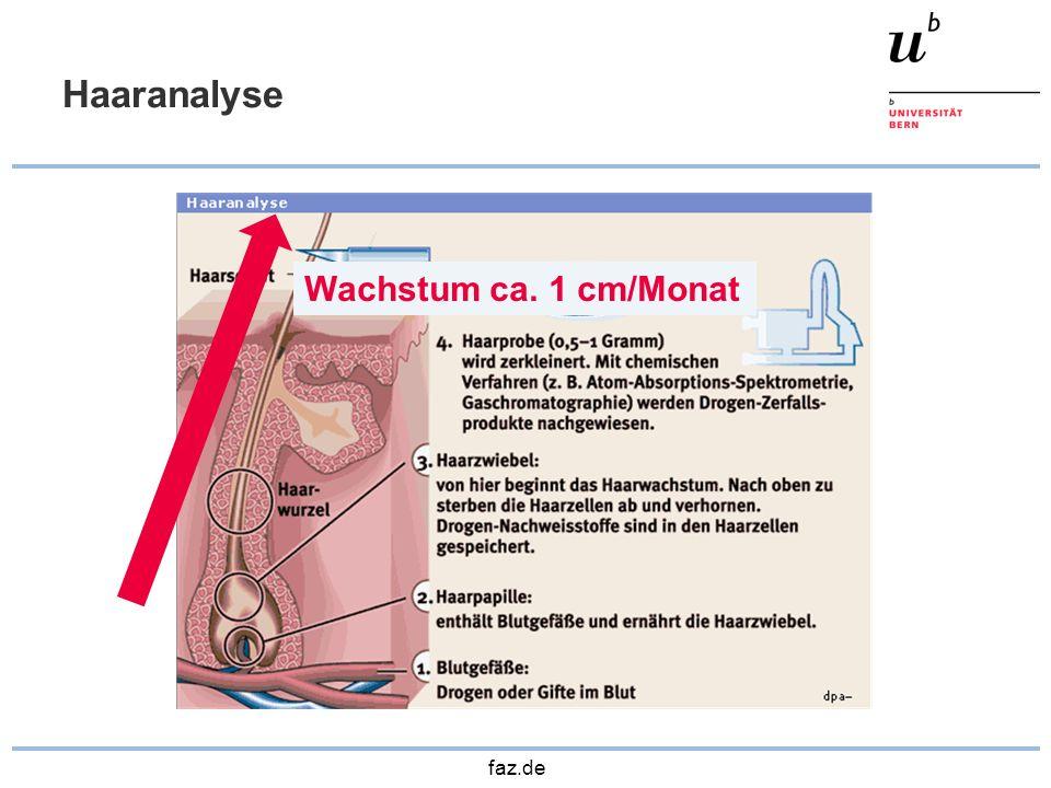 Haaranalyse Wachstum ca. 1 cm/Monat faz.de