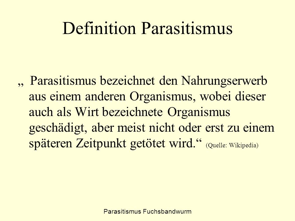 Definition Parasitismus