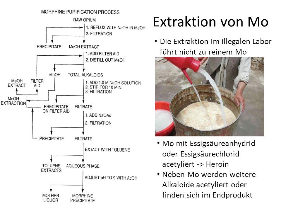 Extraktion von Mo Die Extraktion im illegalen Labor führt nicht zu reinem Mo. Mo mit Essigsäureanhydrid oder Essigsäurechlorid acetyliert -> Heroin.
