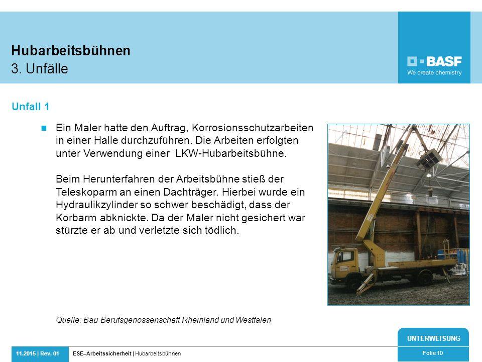 Hubarbeitsbühnen 3. Unfälle Unfall 1
