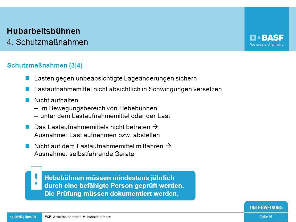 ! Hubarbeitsbühnen 4. Schutzmaßnahmen Schutzmaßnahmen (3|4)