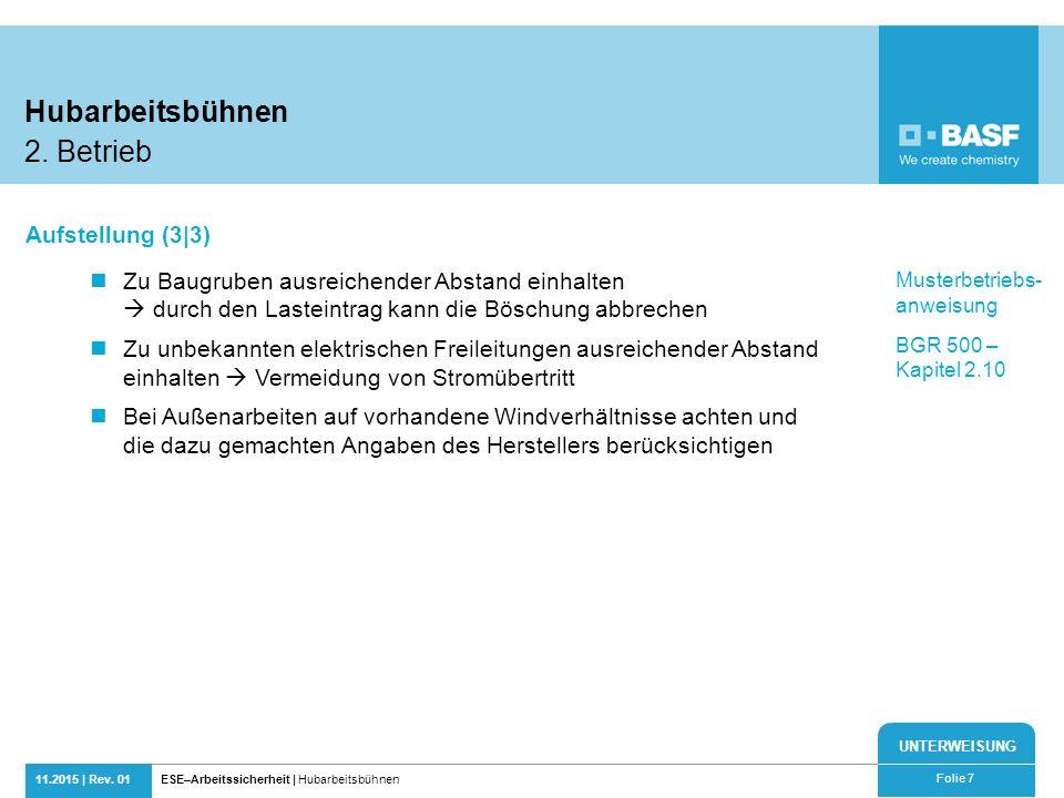 Hubarbeitsbühnen 2. Betrieb Aufstellung (3|3)