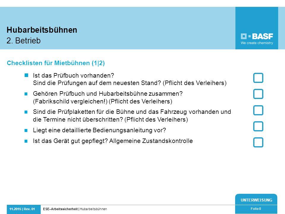 Hubarbeitsbühnen 2. Betrieb Checklisten für Mietbühnen (1|2)