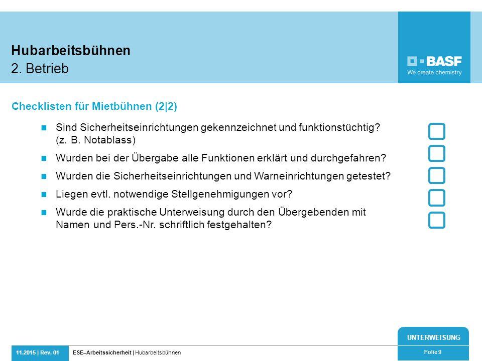 Hubarbeitsbühnen 2. Betrieb Checklisten für Mietbühnen (2|2)