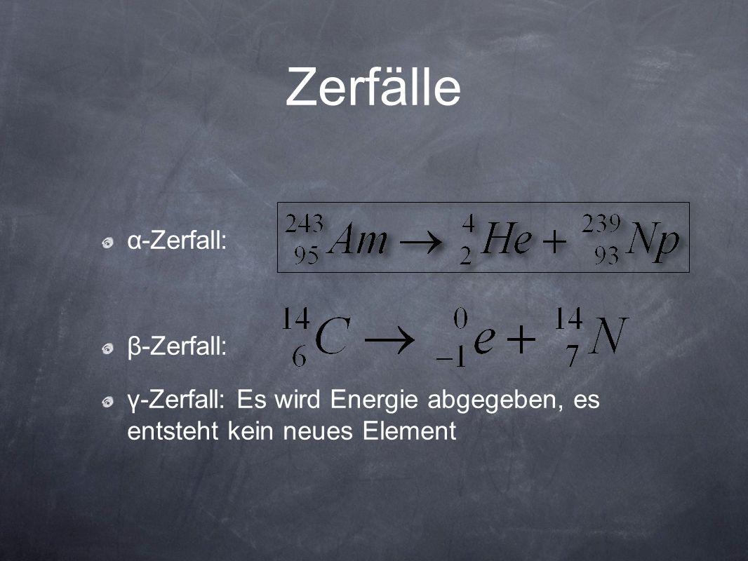 Zerfälle α-Zerfall: β-Zerfall: