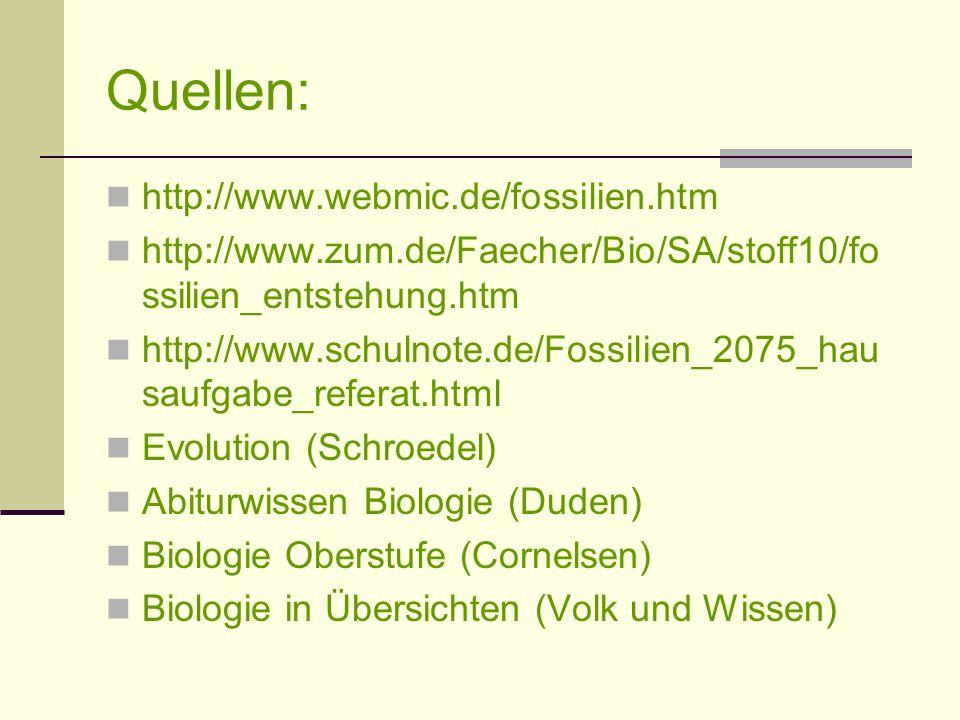 Quellen: http://www.webmic.de/fossilien.htm