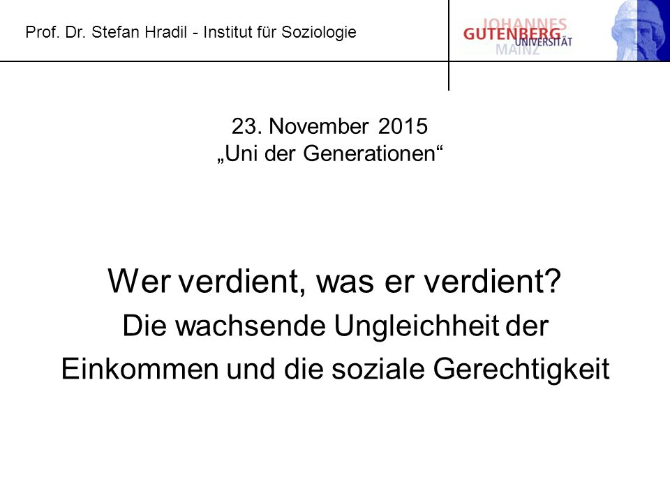 "23. November 2015 ""Uni der Generationen"