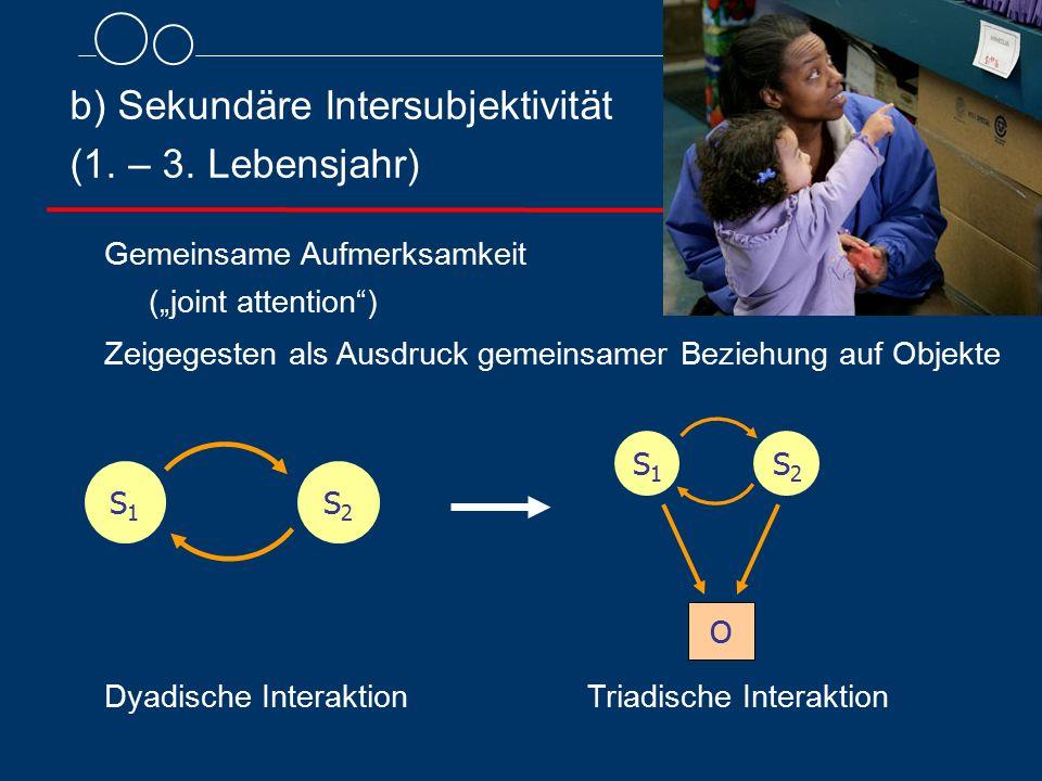 b) Sekundäre Intersubjektivität (1. – 3. Lebensjahr)