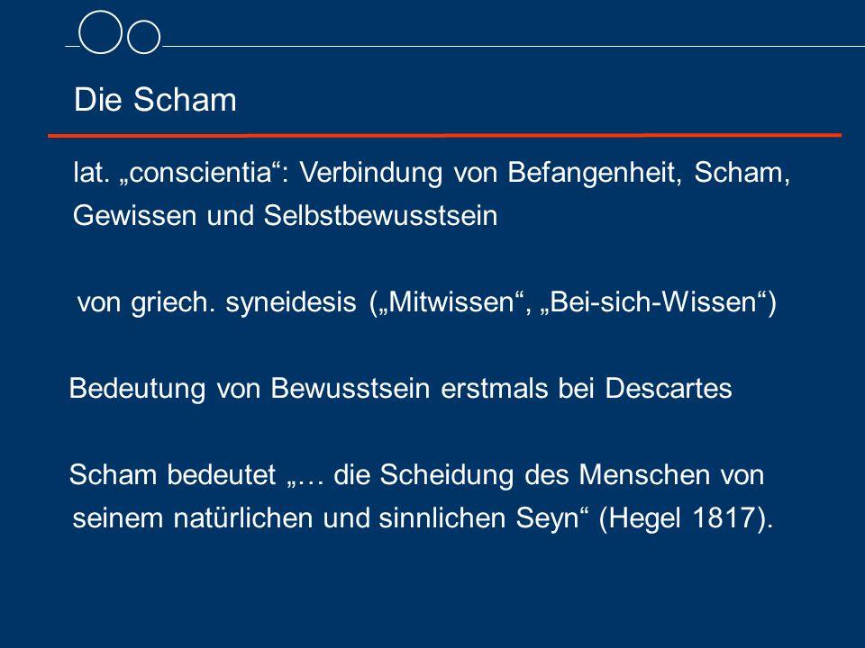 """Die Scham von griech. syneidesis (""""Mitwissen , """"Bei-sich-Wissen )"""
