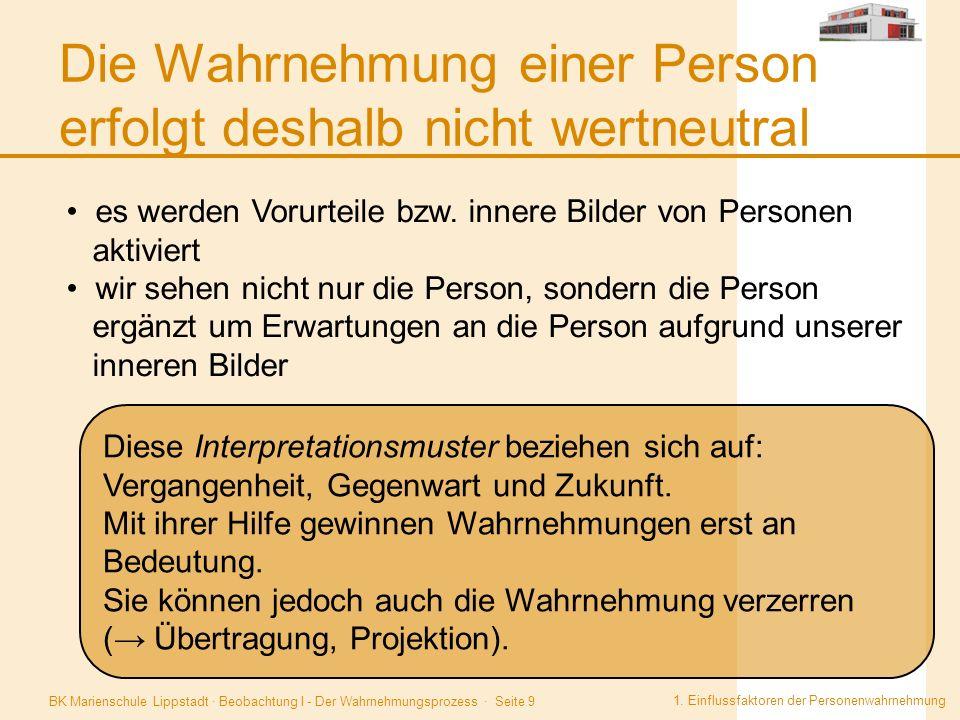 Die Wahrnehmung einer Person erfolgt deshalb nicht wertneutral