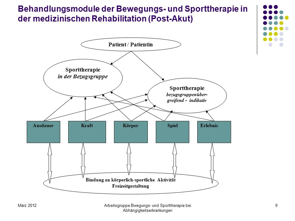 Behandlungsmodule der Bewegungs- und Sporttherapie in der medizinischen Rehabilitation (Post-Akut)
