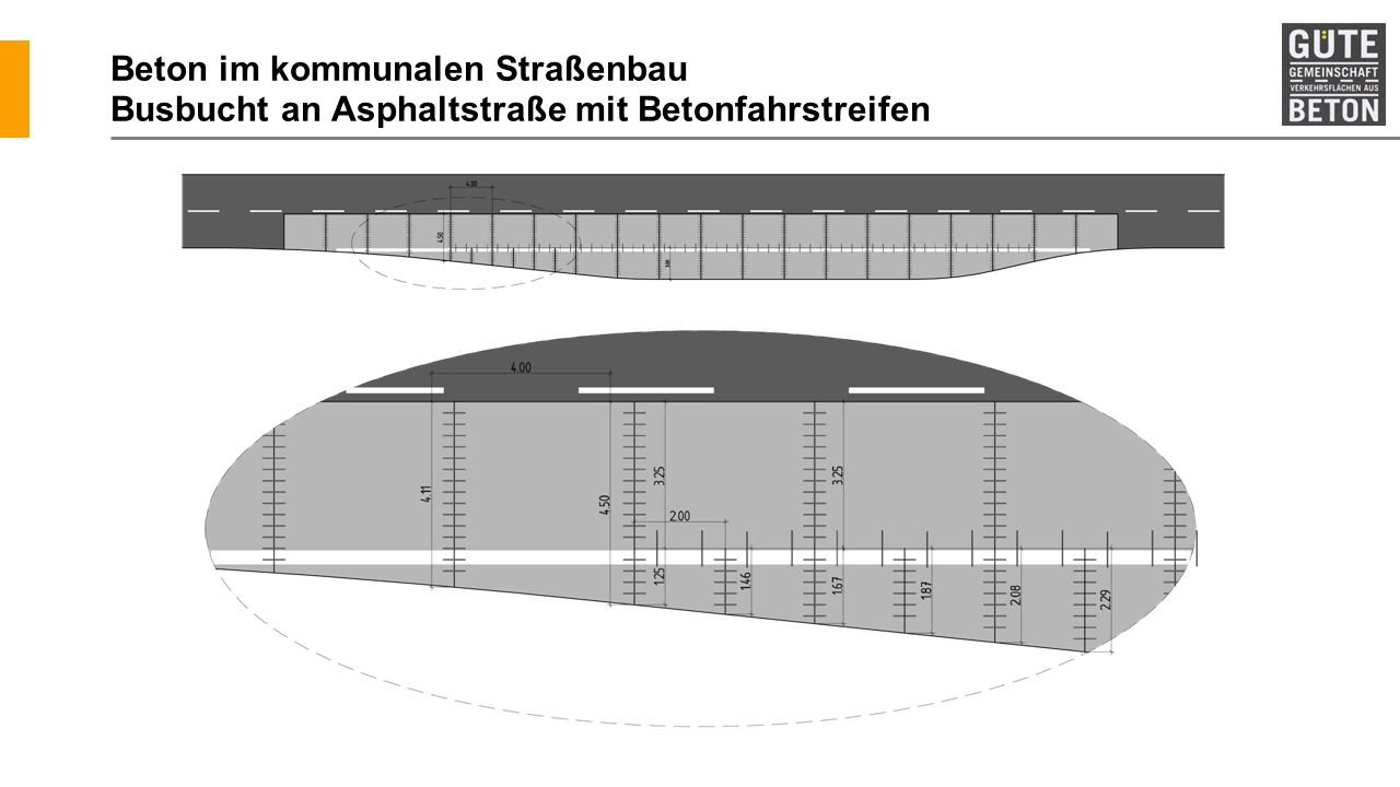 Beton im kommunalen Straßenbau Busbucht an Asphaltstraße mit Betonfahrstreifen
