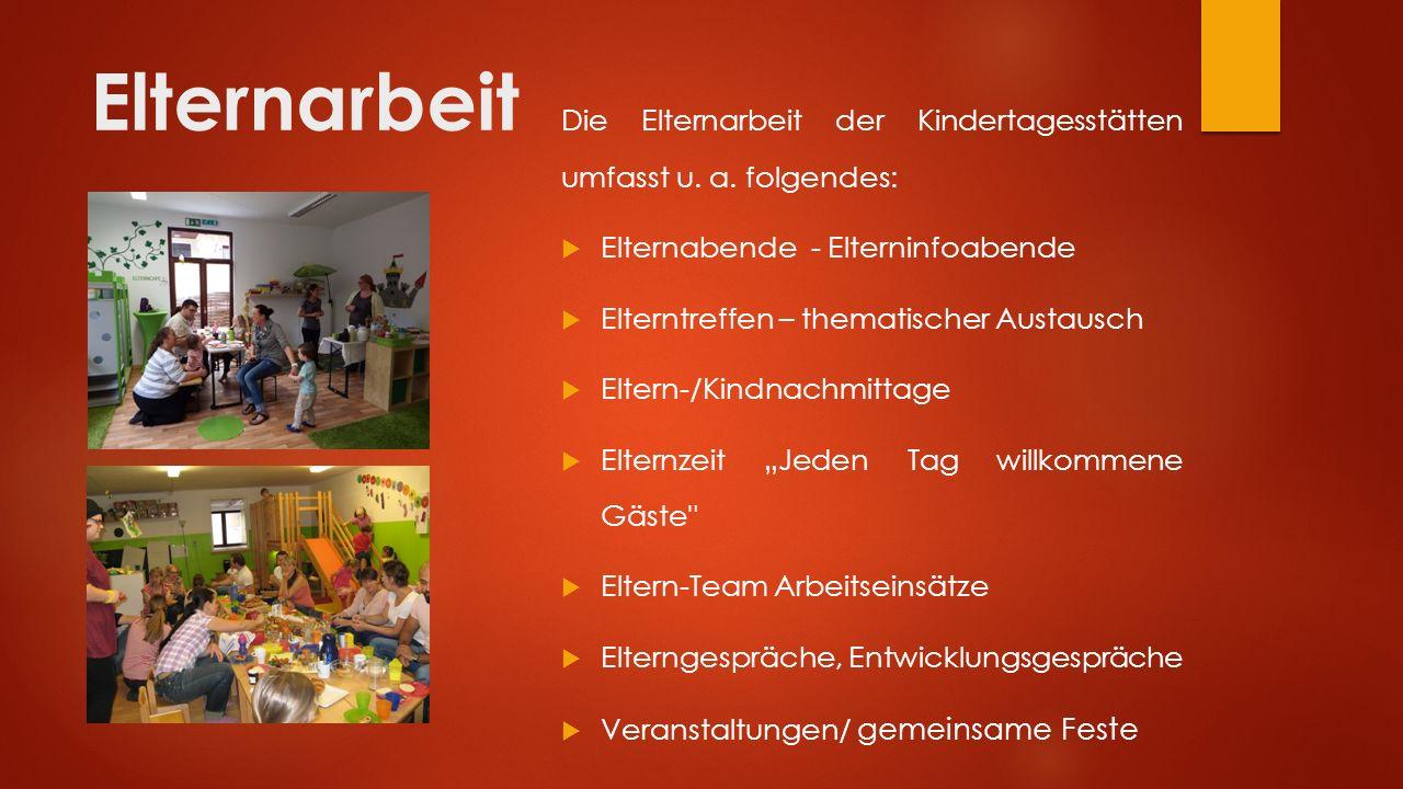 Elternarbeit Die Elternarbeit der Kindertagesstätten umfasst u. a. folgendes: Elternabende - Elterninfoabende.