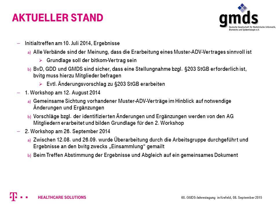 Aktueller Stand Initialtreffen am 10. Juli 2014, Ergebnisse