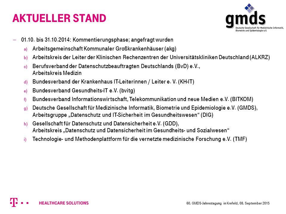 Aktueller Stand 01.10. bis 31.10.2014: Kommentierungsphase; angefragt wurden. Arbeitsgemeinschaft Kommunaler Großkrankenhäuser (akg)
