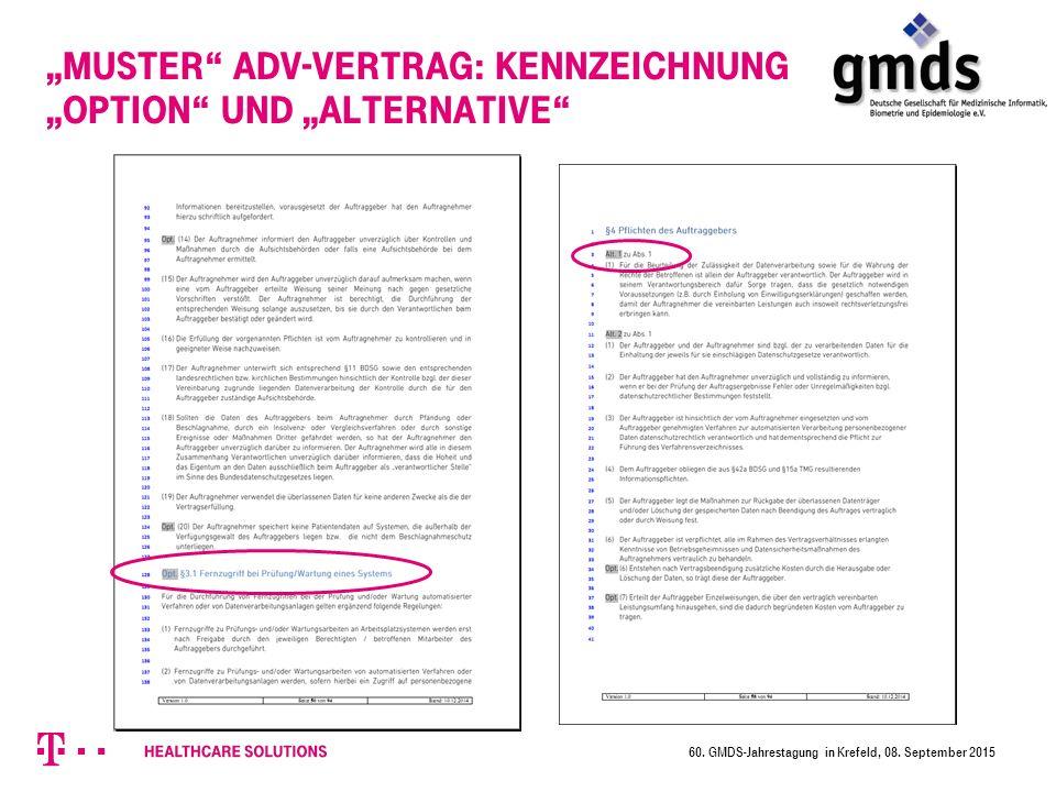 """""""Muster ADV-Vertrag: Kennzeichnung """"Option und """"Alternative"""