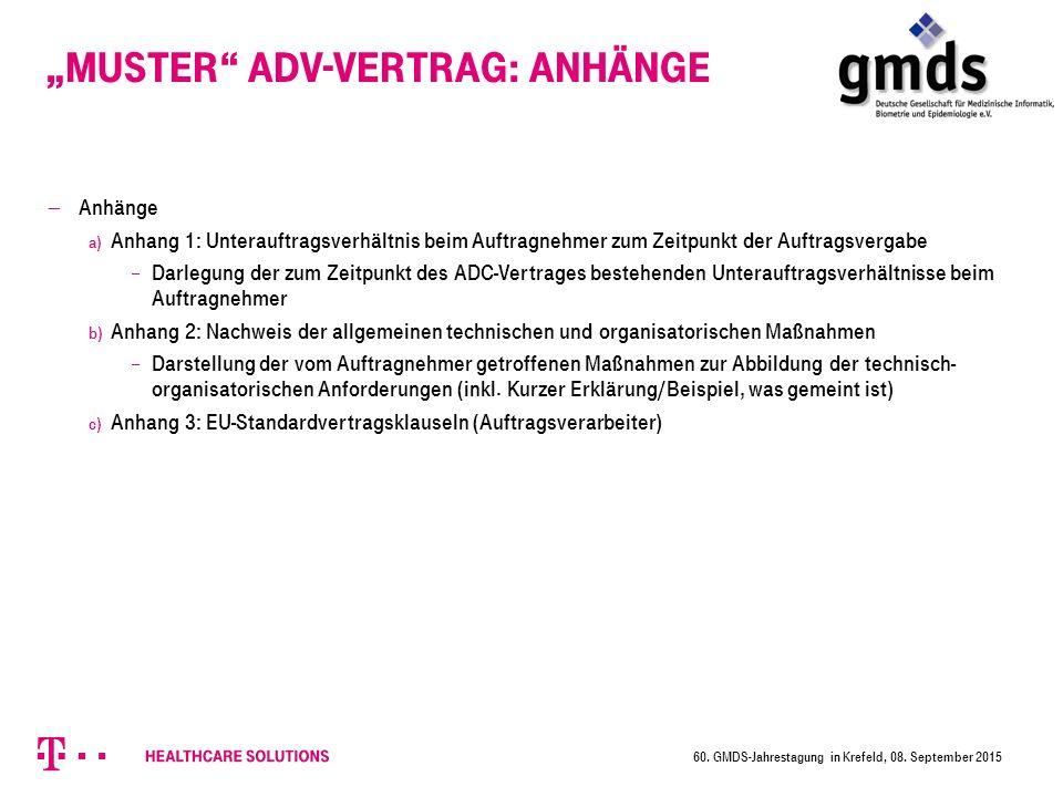 """""""Muster ADV-Vertrag: Anhänge"""