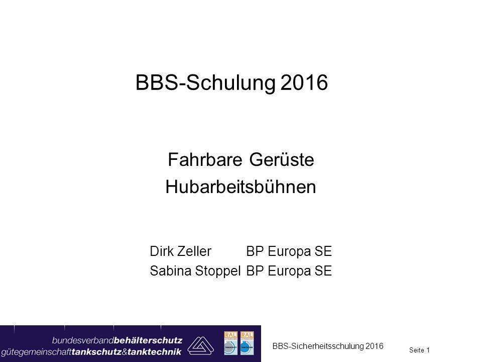 BBS-Schulung 2016 Fahrbare Gerüste Hubarbeitsbühnen