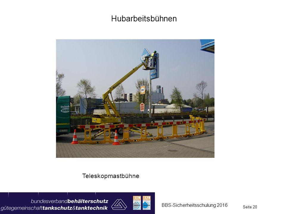 Hubarbeitsbühnen Teleskopmastbühne BBS-Sicherheitsschulung 2016
