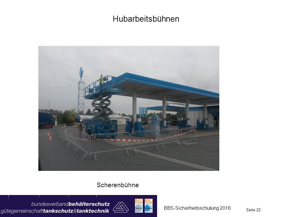 Hubarbeitsbühnen Scherenbühne BBS-Sicherheitsschulung 2016