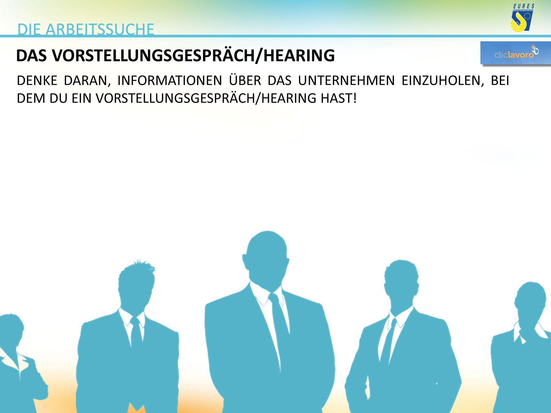DAS VORSTELLUNGSGESPRÄCH/HEARING