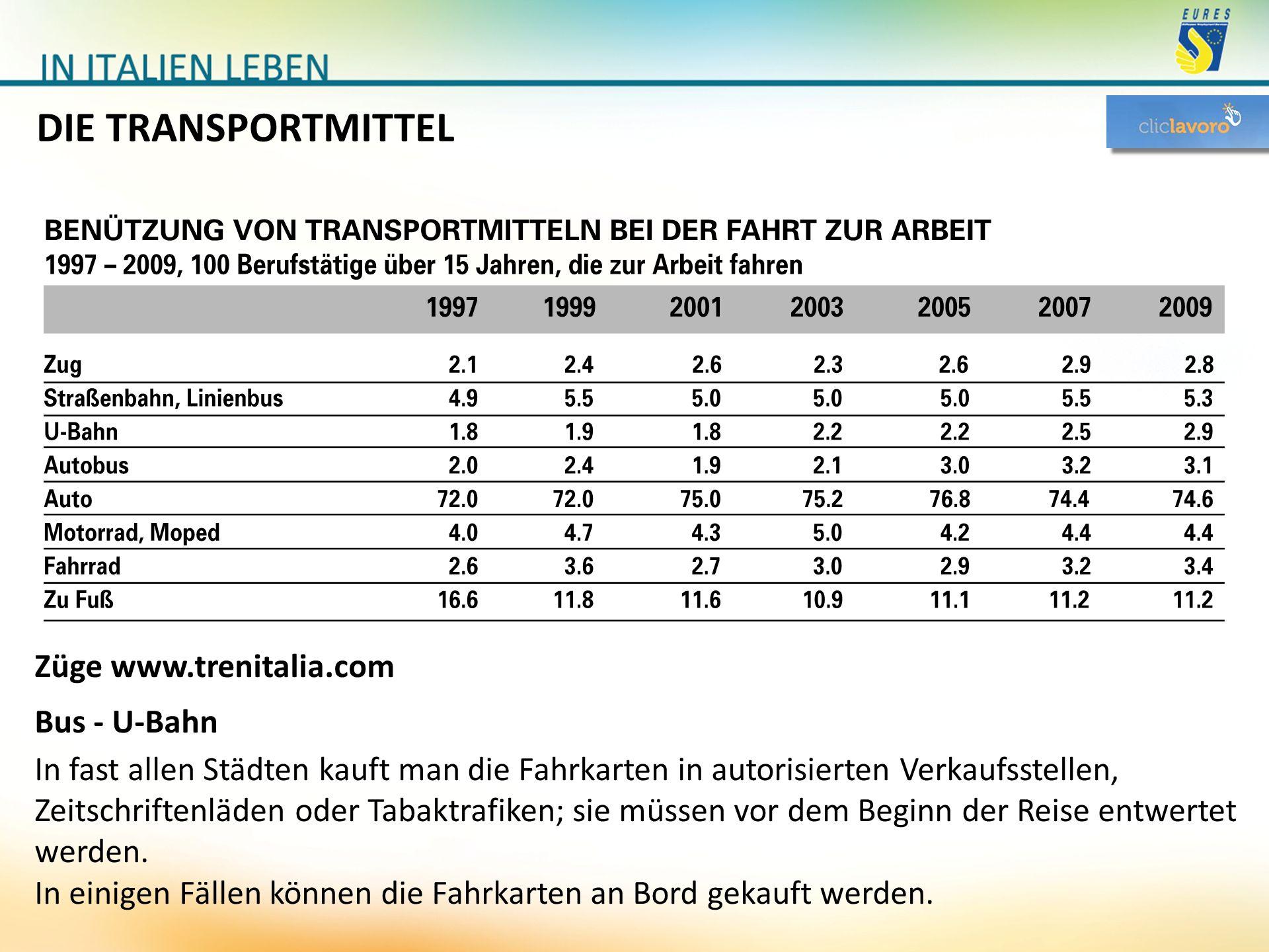 DIE TRANSPORTMITTEL Züge www.trenitalia.com Bus - U-Bahn