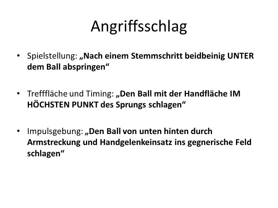"""Angriffsschlag Spielstellung: """"Nach einem Stemmschritt beidbeinig UNTER dem Ball abspringen"""
