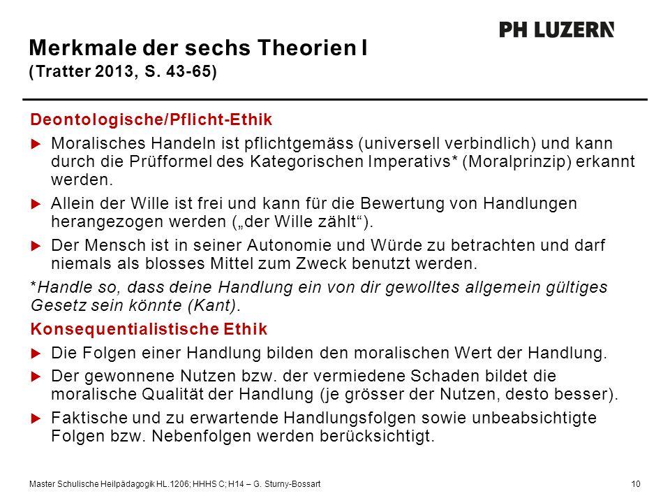 Merkmale der sechs Theorien I (Tratter 2013, S. 43-65)