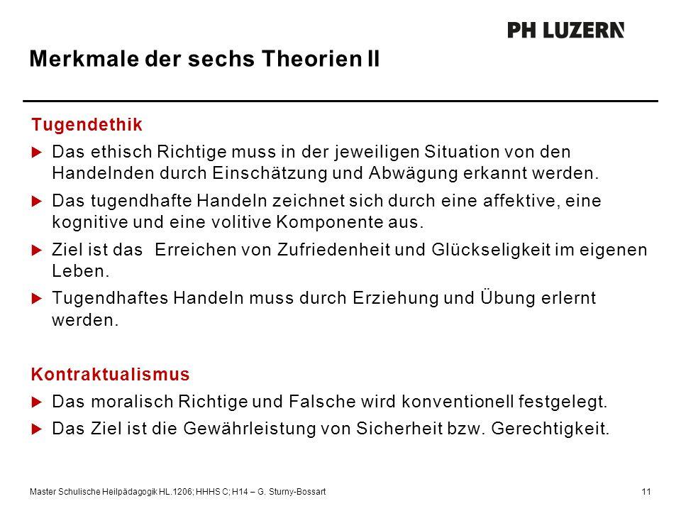 Merkmale der sechs Theorien II