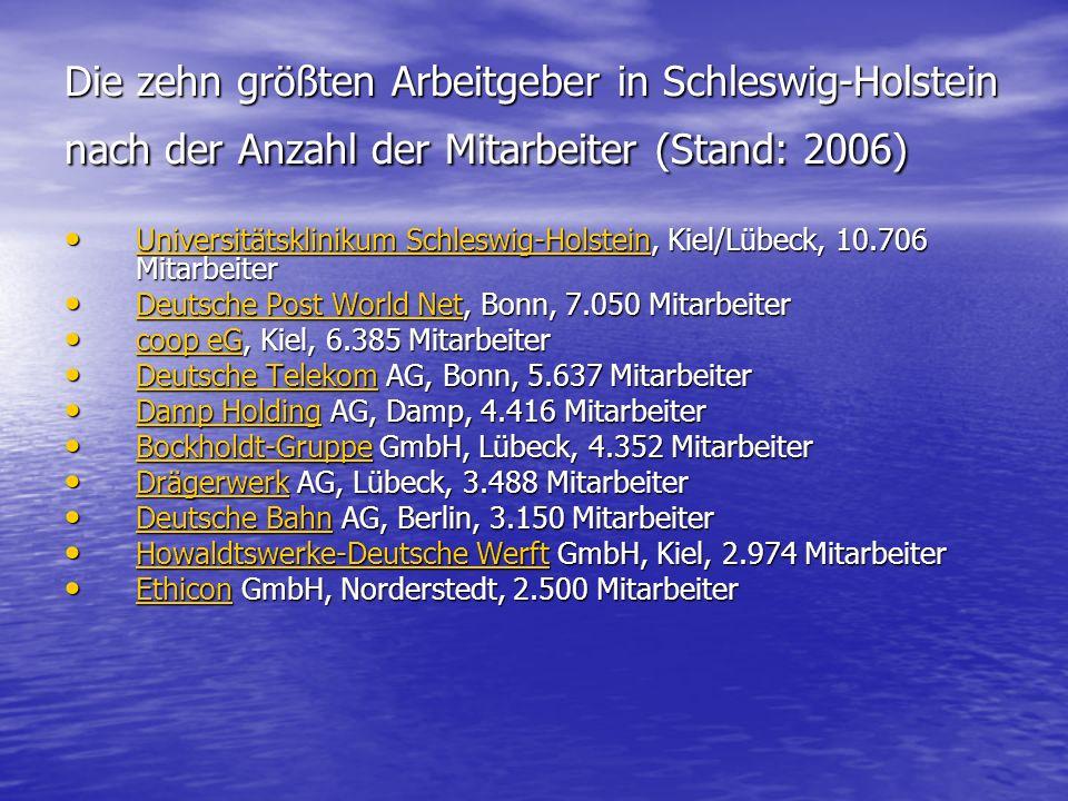 Die zehn größten Arbeitgeber in Schleswig-Holstein nach der Anzahl der Mitarbeiter (Stand: 2006)