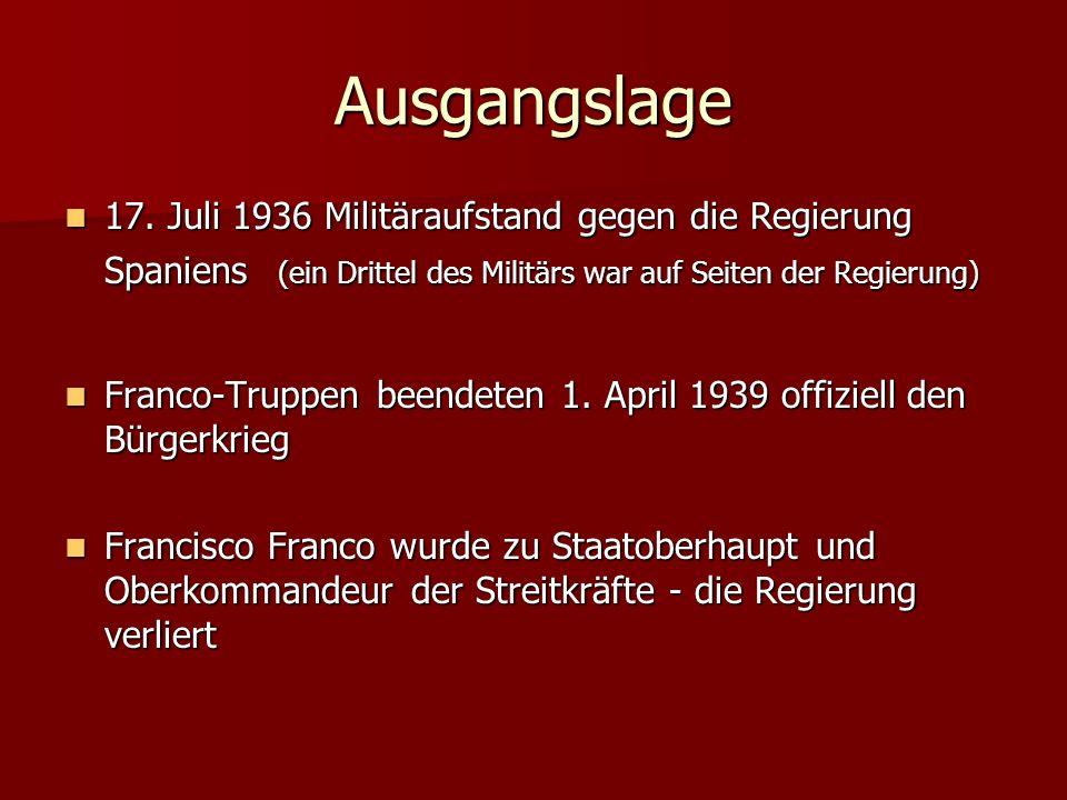 Ausgangslage 17. Juli 1936 Militäraufstand gegen die Regierung Spaniens (ein Drittel des Militärs war auf Seiten der Regierung)
