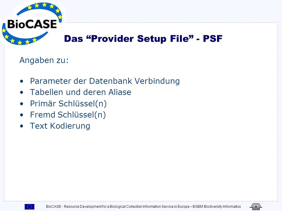 Das Provider Setup File - PSF