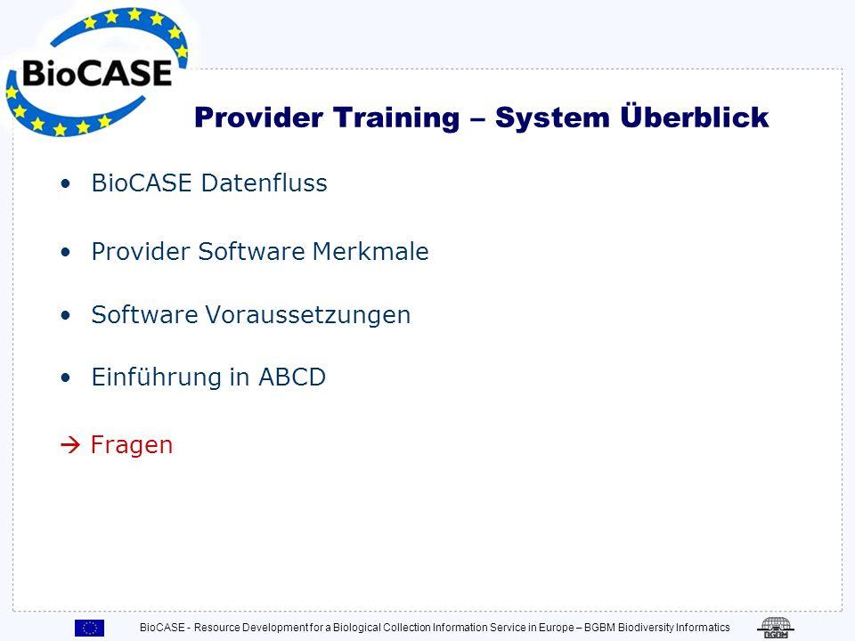 Provider Training – System Überblick
